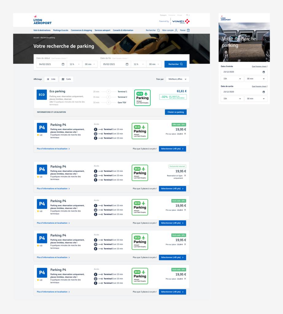 Design UI - interface utilisateurs - Aéroport de Lyon - Responsive